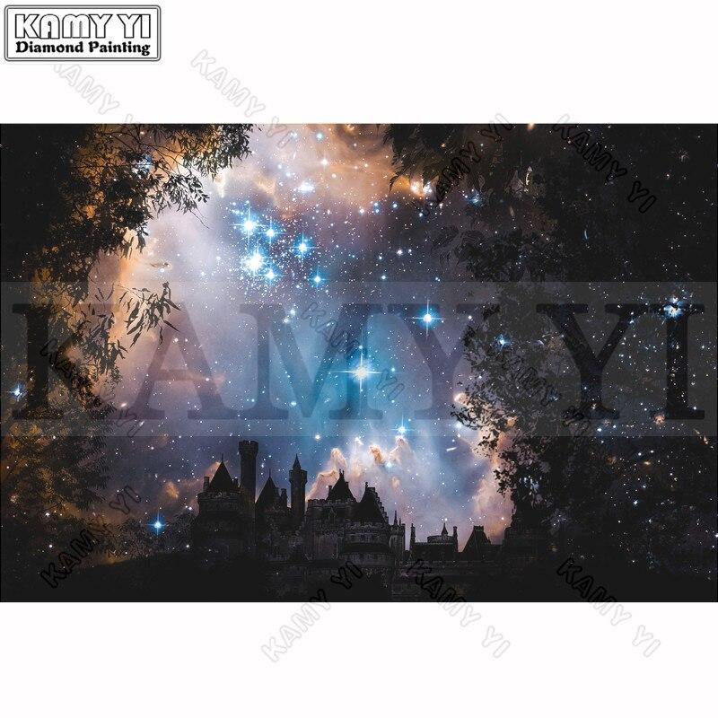 100% Pieno 5D Fai Da Te Daimond Pittura a punto Croce Castello Starry Sky del Diamante 3D Pittura Piena di Strass Dipinti Ricamo Regali
