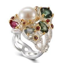 Melhor comprar anel de moda com pérola pedra colorida, multi ouro preto cor de moda único design de festa anel de aniversário