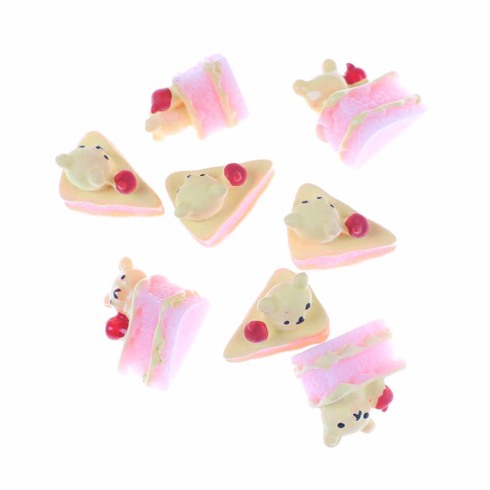 5 шт игральные игрушки DIY Миниатюрные искусственные каваи ремесло плоская задняя часть поддельные из смолы, в форме продуктов питания медведь пирожное кукла дом декоративные случайный