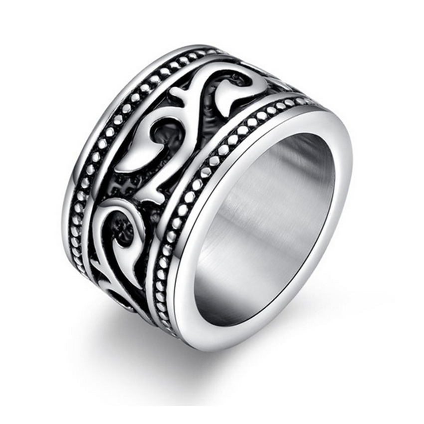 Vintage Decorative Pattern Ring Stainless Steel Rings Retro Gothic Male Jewelry 8-13