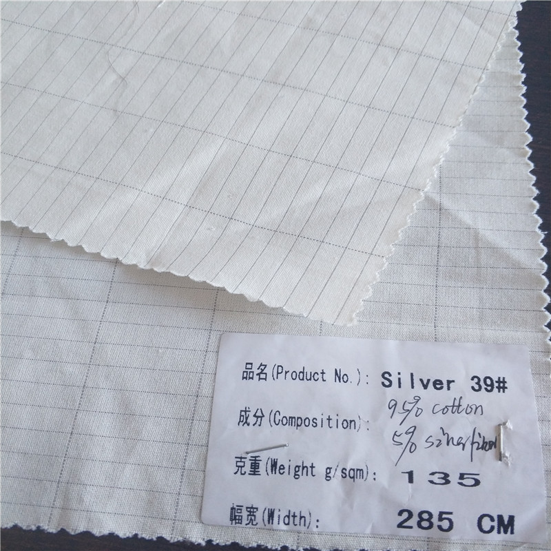 5% silver 95% cotton silver ground sheet fabric for earth