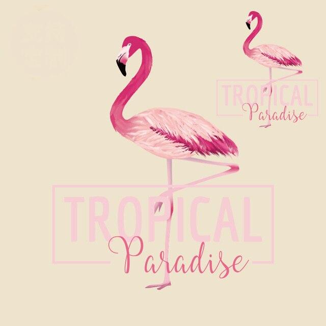 Тропический рай Фламинго пирография передача тепла утюг на Нашивки для одежды DIY Футболка Костюмы украшения Печать