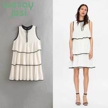 купить Women dress elegant Sweet mini autumn dress O-collar sleeveless female office wear chic cute dresses vestidos по цене 1439.4 рублей