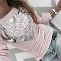 Fashion Blusas Femininas 2017 Women Blouses Lace Patchwork Shirts Long Sleeve O Neck Casual Slim Tops Tee Plus Size