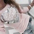 Moda Blusas Femininas 2017 Mujeres Blusas de Encaje Patchwork Camisas de Manga Larga O Cuello Delgado Ocasional Tops Camiseta Más El Tamaño