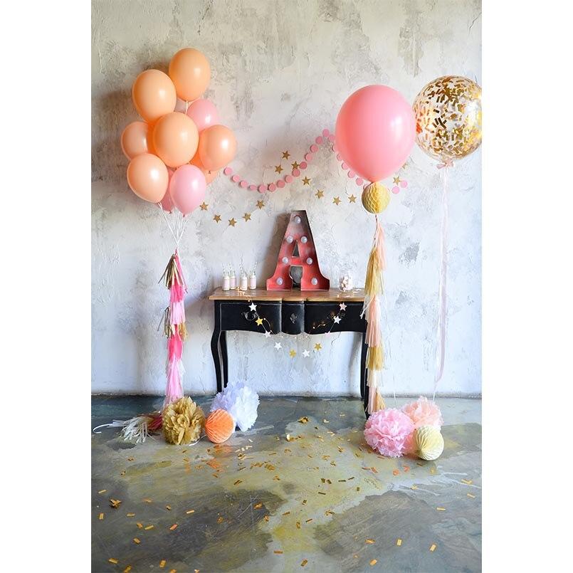 Benutzerdefinierte Fotografie Kulissen Dessert Tisch Luftballons Retro 3d Hintergründe Für Foto Studio Kinder Kinder Neue Geboren Baby Angepasst