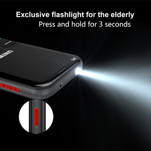 """Image 3 - UNIWA V808G Old Man Mobile Phone 3G SOS Button 1400mAh 2.31"""" Curved Screen Cellphone Flashlight Torch Cell Phone For Elderly"""