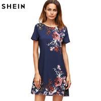 SheIn Summer Dresses Casual Womens Dresses New Arrival 2017 Royal Blue Aztec Print Short Sleeve Floral