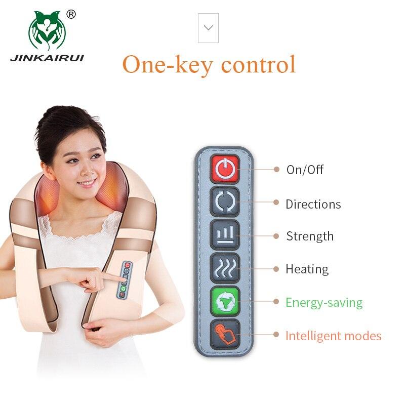 JinKaiRui forma eléctrica Shiatsu cuello espalda hombro masajeador de cuerpo Spa infrarrojos 4D amasar Massagem coche a casa de doble uso Masaje