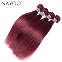 NAYOO Ön-renkli Perulu Düz Saç 4 Demetleri 99j Düz Insan Saç Örgü Demetleri 10