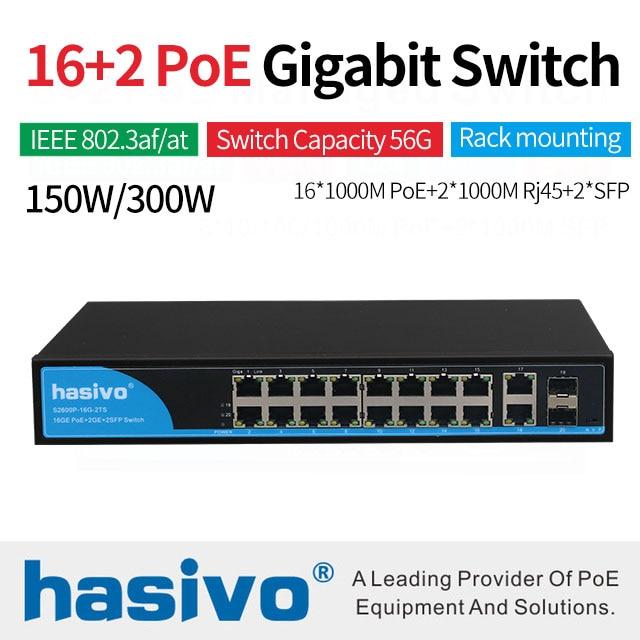 16 Ports POE Commutateur Avec 2 Gigabit SFP 16 PoE 2 SFP Ports Gigbit PoE Ethernet Réseau Commutateur 1000 Mbps