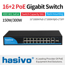 16 Ports POE Switch With 2 Gigabit SFP 16 PoE 2 SFP Ports Gigbit PoE Ethernet Network Switch 1000Mbps ethernet router 1u firewall with 6 1000m 82574l gigabit nics 2 i350 sfp ports intel pentium g2020 2 9ghz 1g ram 8g ssd