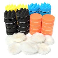 Mayitr 50pcs Set 3 80mm Colorful Sponge Waxing Buffing Polishing Pads Kit Set For Car Polisher