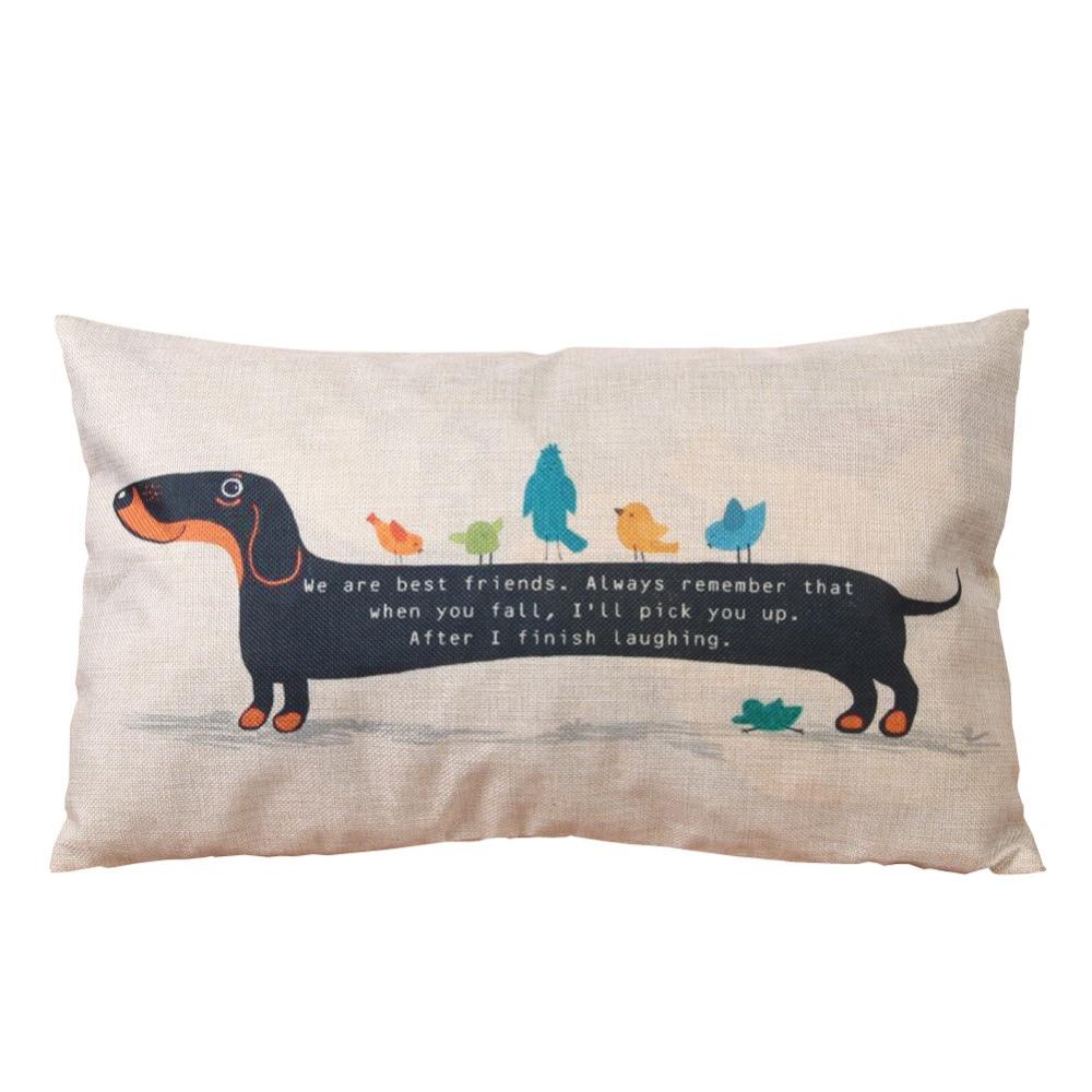Throw Pillow Vs Cushion : 30cm*50cm Dachshund Pillow Case Cushion Cover Throw Sausage Dog Pillowcase Linen Cotton Cartoon ...