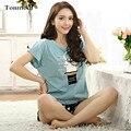 Мода Пижамы Для Женщин Летом Хлопка Пижамы С Коротким рукавом Шорты Гостиная Пижамы Набор
