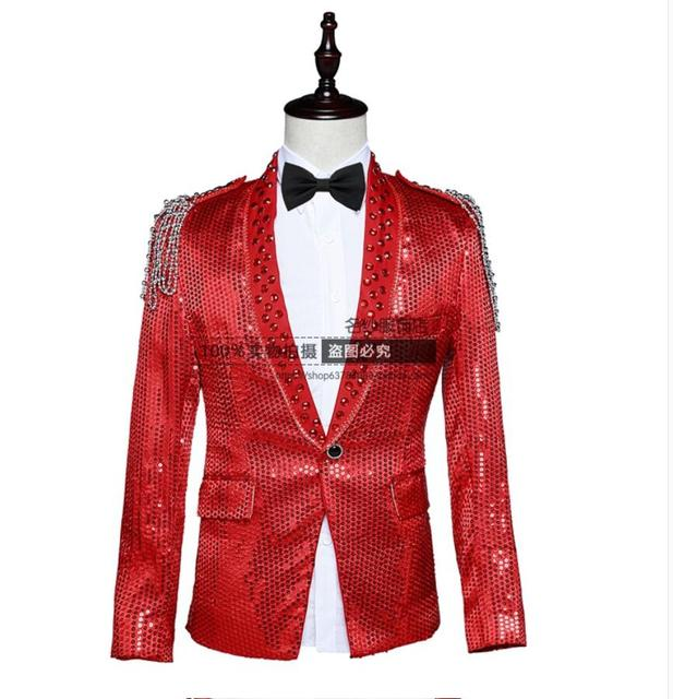 Nueva delgado cantantes dj Paillette traje masculino vestido formal delgado de la cadena de ropa traje chaqueta blazer hombres escenifican trajes!