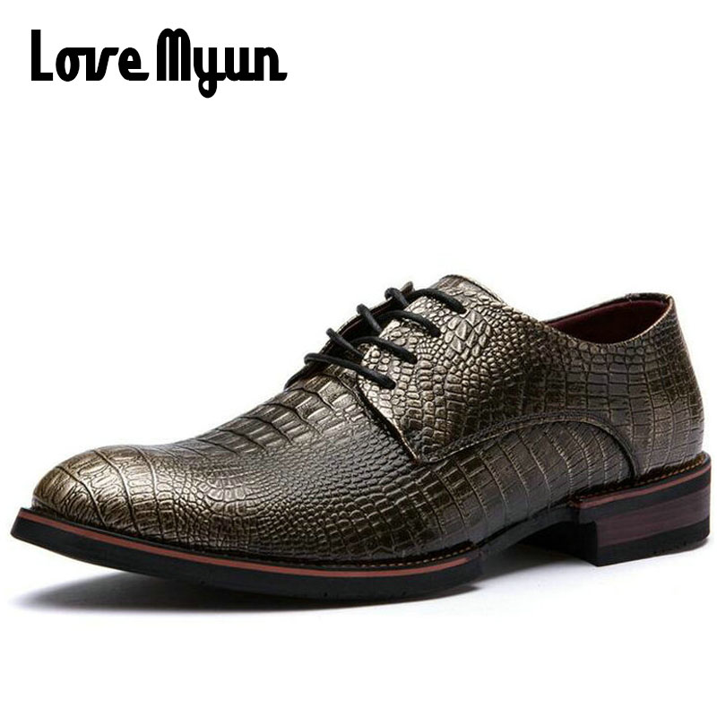 Fashion mature men dress shoes alligator leather party shoes lace up Pointed toe retro b ...