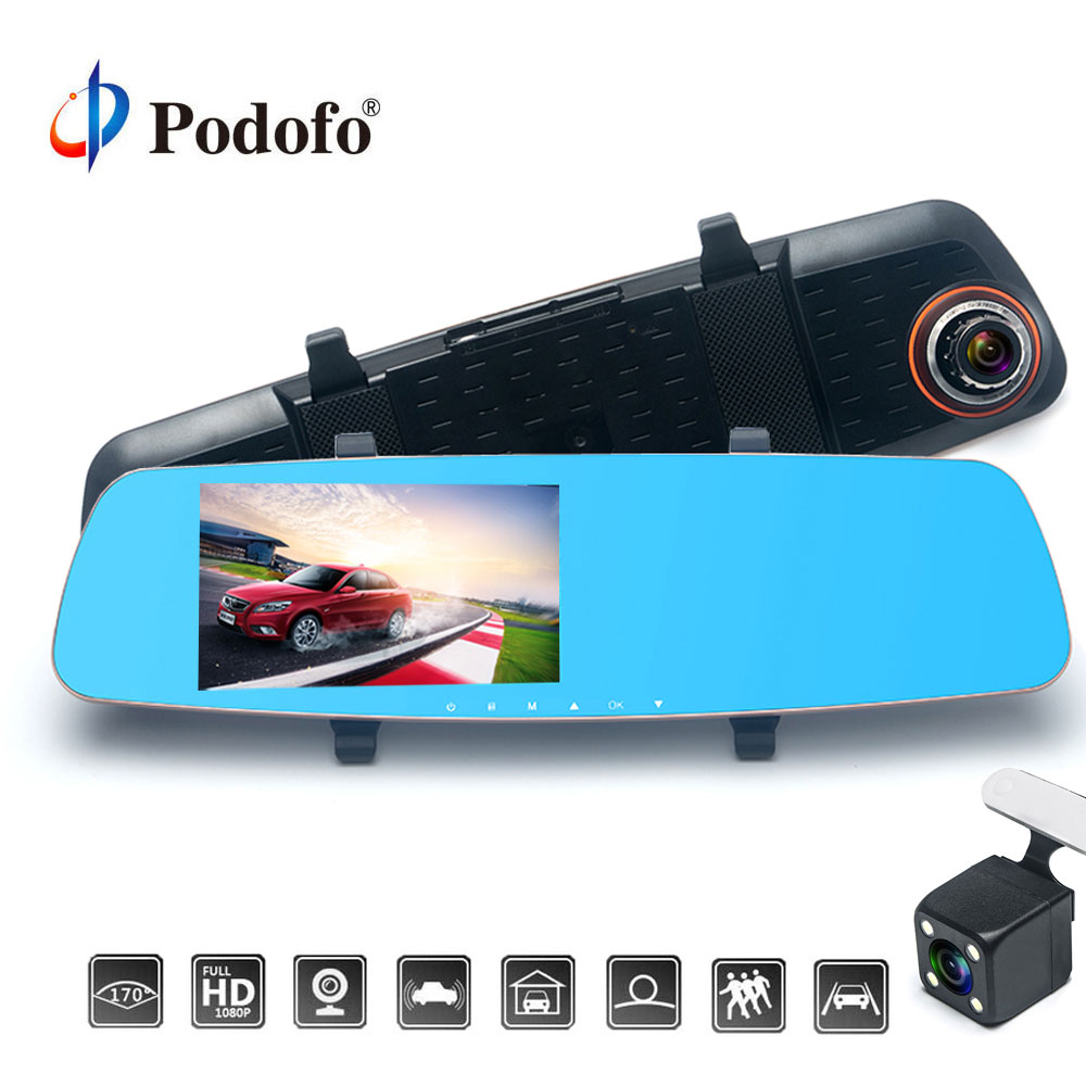 Podofo Dual Lens 5'' Car DVR Camera Full HD 1080P Video Recorder Rearview Mirror With Rear view DVR Dash cam Auto Registrator e ace car dvr 5 inch camera full hd 1080p dual lens rearview mirror camcorder auto video registrator dvr recorder dash cam