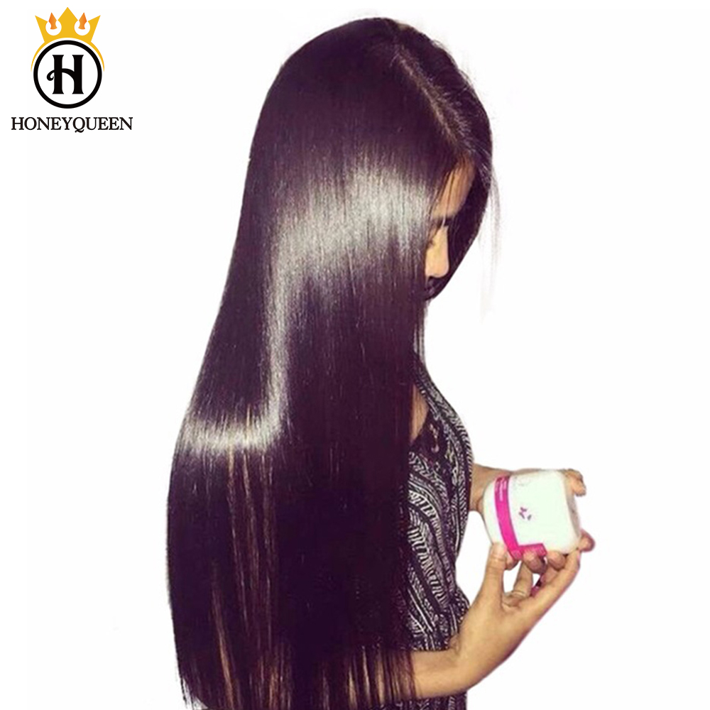 Silky Straight 360 Lace Frontal Wig Pre Plucked With Baby Hair 150% Full Ends Lace Front Human Hair Wigs Honey Queen Remy