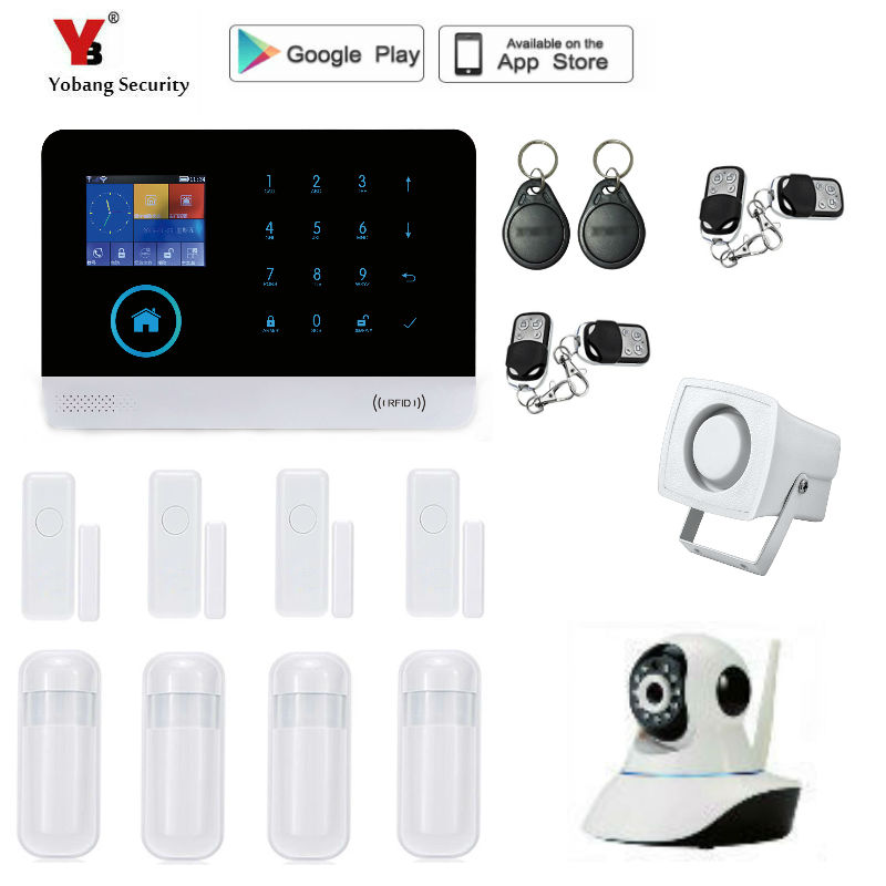 French,Russian,Spanish Voice,Wireless SIM GSM Home RFID Burglar Security LCD Touch Keyboard WIFI GSM Alarm System Sensor kit