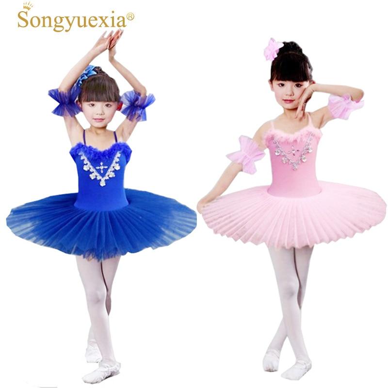 Vestido de Ballet de diamantes de SONGYUEXIA para niños Traje de Ballet de  Lago Cisne niñas a00af7ed97a