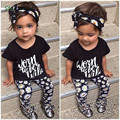 fashion style leisure suit Kids girls set short-sleeved floral  + headband 2017 summer new children's clothes