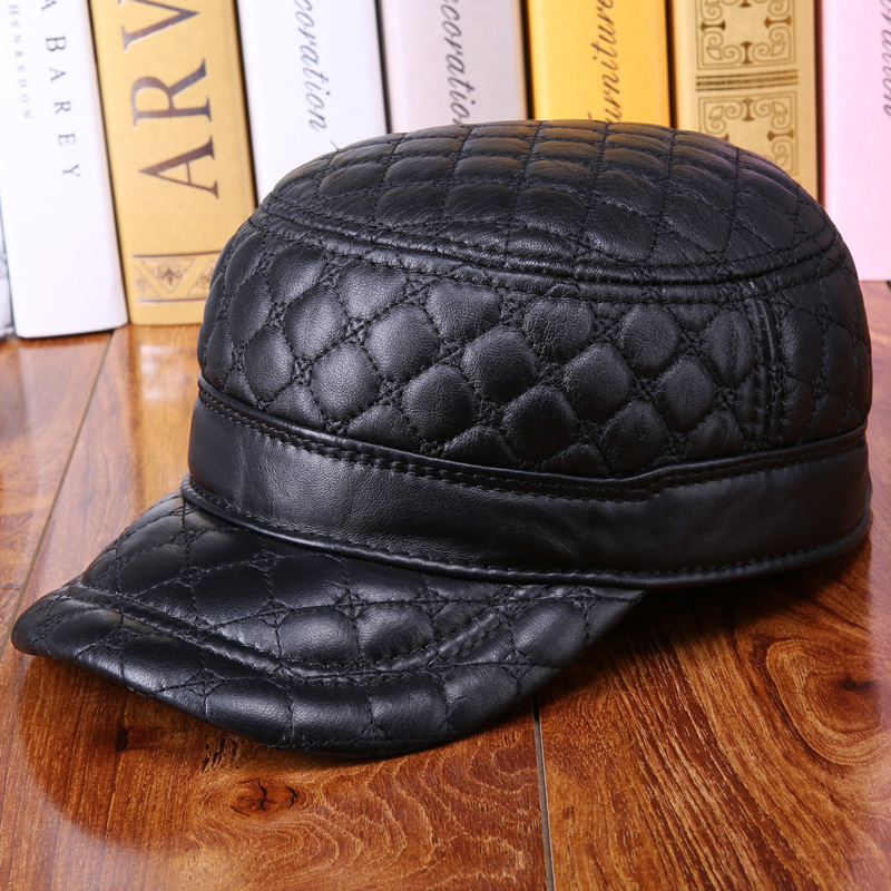 Mens Black Adjustable Leather Flat Cap Hat Biker Trucker Sports B-0609