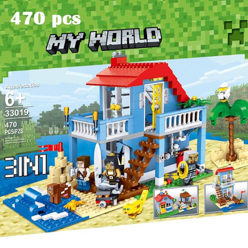 Qunlong 33019 MON Monde maison de plage 3 modèles Blocs de Construction 470 pcs BRICOLAGE Briques Blocs Jouets Pour Enfants Compatible Legoe minecraft