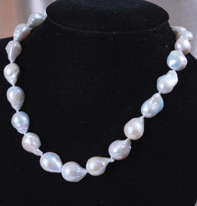 Hot sale new Style >>>>>AAA+ New Jewelry SOUTH SEA WHITE BAROQUE PEARL NECKLACE 18