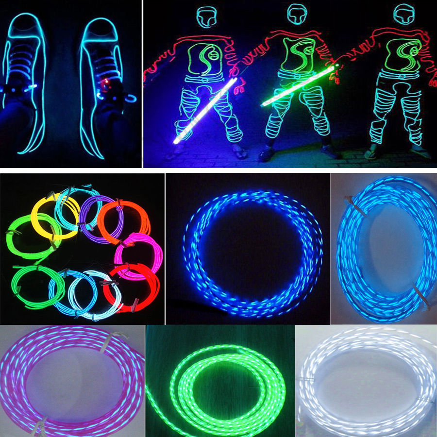 3m led flexible neon light glow chasing el wire rope tube strip car 3m led flexible neon light glow chasing el wire rope tube strip car interior decorative light with cigarette lighter car styling in signal lamp from aloadofball Image collections
