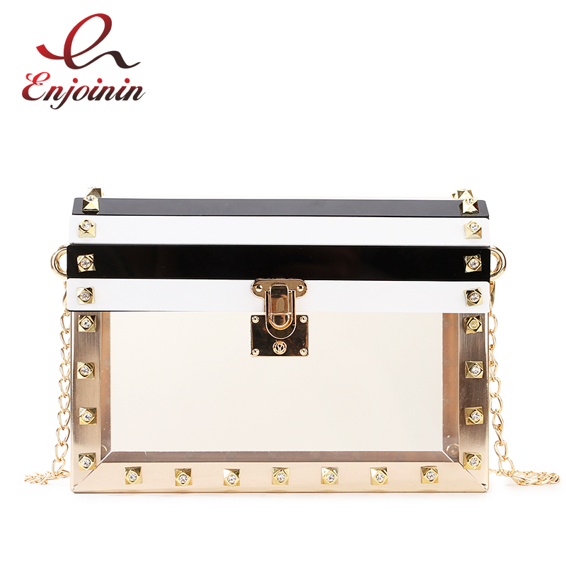 Fashion Acrylic Transparent Striped Metal Rivet Ladies Party Clutch Bag Chain Purse Shoulder Bag Cross body Bag Flap HandbagFashion Acrylic Transparent Striped Metal Rivet Ladies Party Clutch Bag Chain Purse Shoulder Bag Cross body Bag Flap Handbag