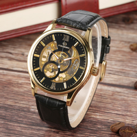 Men Skeleton Mechanical Hand Wind Stainless Steel Sports Watch Personality Leisure Gold-Tone Roman Numerals  Mechanical Watches