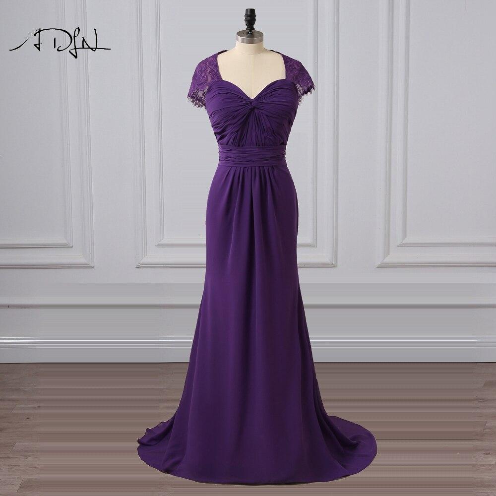 ADLN Elegant Cap Sleeve Purple   Bridesmaid     Dresses   with Open Back Sheath Maid of Honor   Dress   Chiffon Long Party Wear