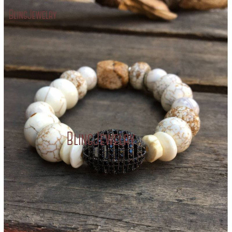 Австралийский нефритовый хризопраз белый бирюзовый драгоценные камни золотой браслет из бисера BM26467 - Окраска металла: BM10763