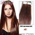 Cinta en la extensión del pelo 40 unids 2# dark brown 100% peruano de la virgen extensión del pelo sin fisuras longqi trama de la piel del pelo de la PU