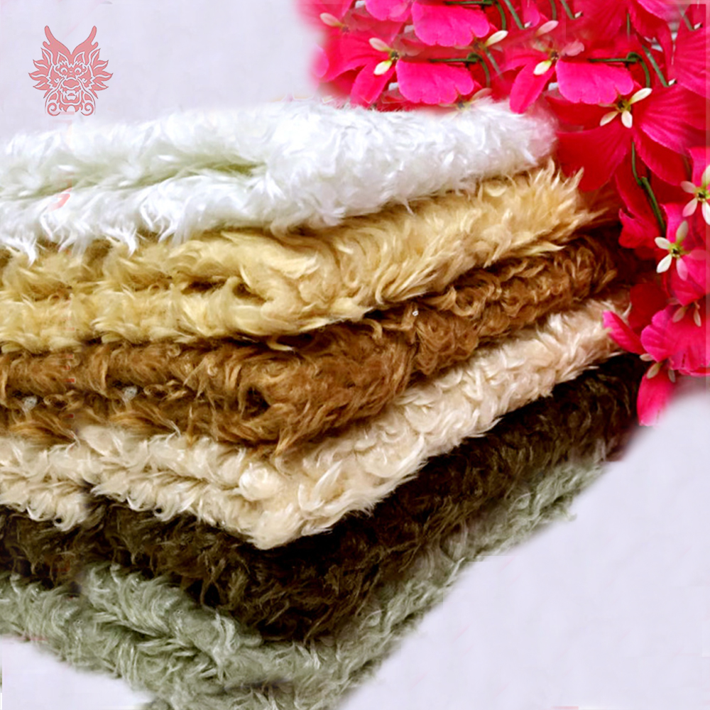 Multi Color Solid Fluffy Fake Lambswool Fur Fabric Tissue Long Fur Photographic Newborn Cloth DIY Accessories By One Yard SP5493