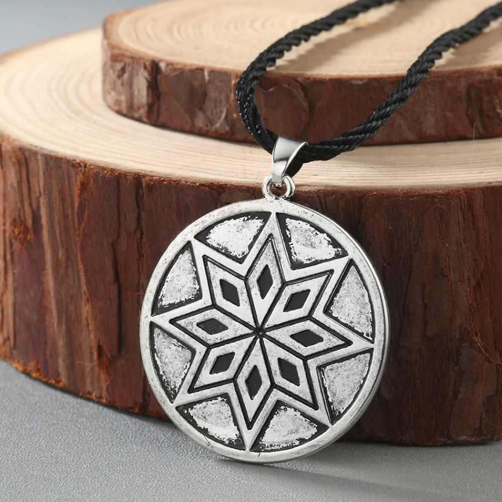 Viking Rune słowiański naszyjnik mężczyźni Raven zodiak młotek kompas wisiorek srebrny Vintage biżuteria amulet kobiety naszyjniki mężczyzna kołnierz