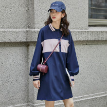 2019 Autumn New Women's Dress Korean Fashion Loose Stitching Contrast Color Lantern Sleeves POLO Collar Female Dresses 90s цены