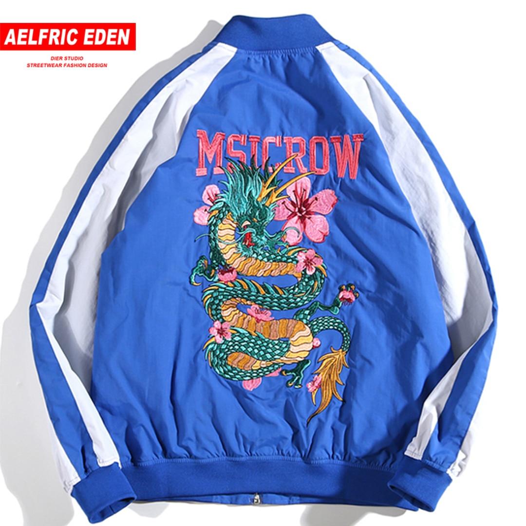 Hip Décontracté Kj228 pourpre Hop Manteaux Veste Aelfric Streetwear bleu Mâle Automne Coupe 2018 Noir Eden Bomber Dragon vent Pilote Broderie nf7aHvn