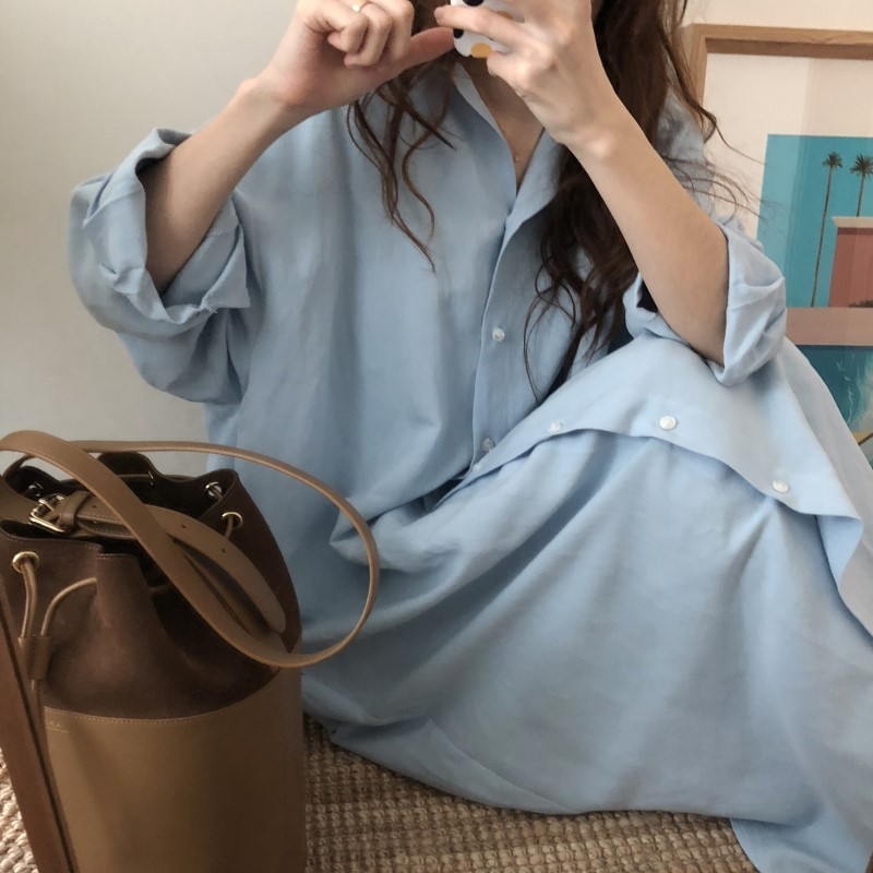 Blue Long Sleeve Long Shirt Dress Spring Casual Patchwork White Cotton Dresses Collar Buttons Loose Dresses Robe Femme Vestido