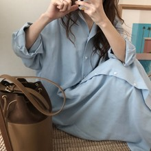 Blue Long Sleeve Long Shirt Dress Spring Casual Patchwork White cotton Dresses Collar Buttons Loose