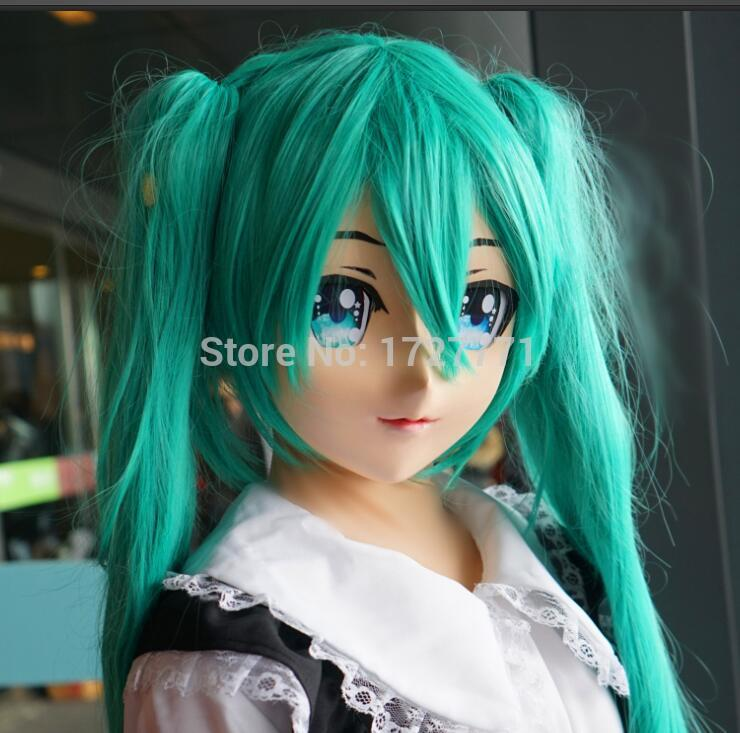 (KM9176)Super Quality Handmade Female Resin Half Face Mask Japanese Anime Cosplay Kigurumi Mask Crossdresser Doll