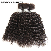 Human-Hair Hair-Extensions Curly Rebecca 1/3/4-bundles Braiding Bulk Brazilian for To