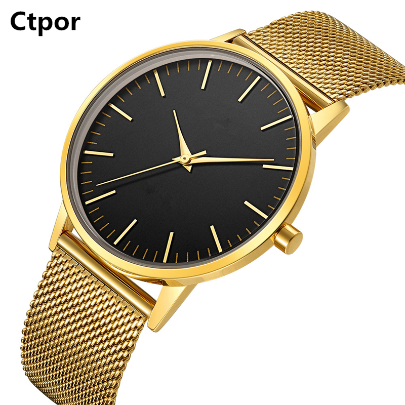 Top Men Watch No Logo Ctpor Brand Design Male Stainless Steel Watchband Black Quartz Clock Fashion Gold Man Wrist Watches FD1298 chenxi men gold watch male stainless steel quartz golden men s wristwatches for man top brand luxury quartz watches gift clock