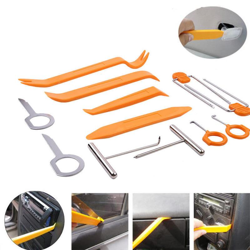 Vehemo 12Pcs Car Auto Radio Door Clip Panel Trim Dash Audio Repair Removal Pry Tool Kit Car Accessories