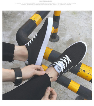 New 2019 Spring Summer Canvas Shoes Men Sneakers Low top Black Shoes Men's Casual Shoes Male Brand Fashion AQ692-712