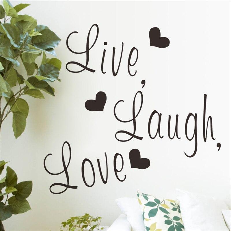 Live laugh love letters vinile wall stickers per camera da letto decorazione di arte della parete adesivos de parede diy decalco ...