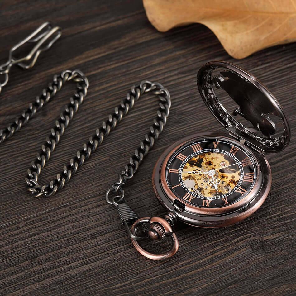 mecânico correntes bronze oco steampunk esqueleto fob