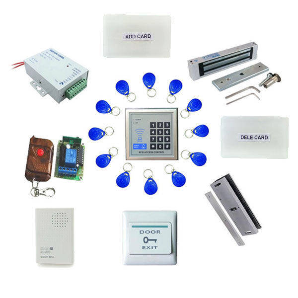 free ship by DHL,access control+ power+magnetic lock+U bracket +remote control +exit button +door bell +10 tags,sn:em-008s free ship by dhl access control kit one em keypad access control power magnetic lock u bracket button 10 em card sn em 008