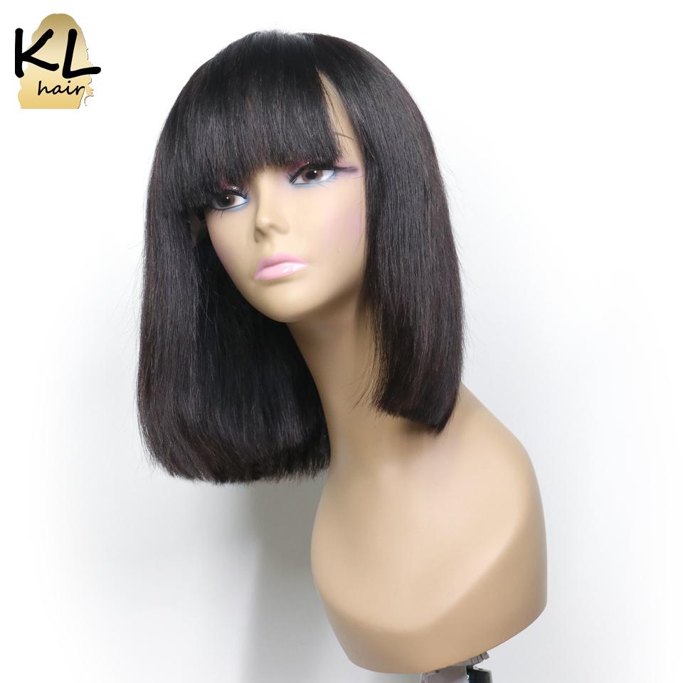 Lace Front Human Hair Wigs With Bangs Pre Plucked Brazilian Remy Hair Straight Short Bob Wig
